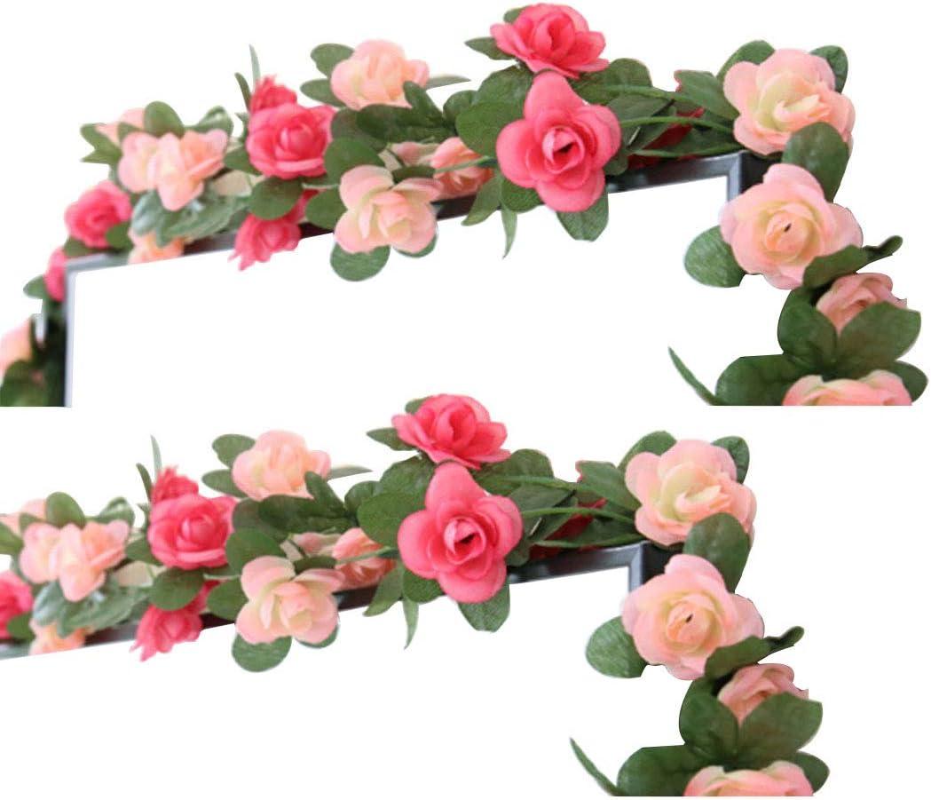 LumenTY 2 paquetes de flores artificiales de 2.5 m Vine Rose Garland Seda Flores falsas Decoración colgante para Oficina del hotel Jardín Fiesta casera Boda Festival Decoración - Rosa y rosa Claro