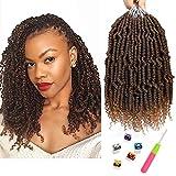 Bomb Twist Crochet Hair 6 Packs Spring Twist Hair Prelooped Crochet Braids Synthetic Hair Extension Passion Twist Mini Twist Hair Dreadlocks Braiding Hair for Women 14inch By Mirra's Mirror (T1B/30)