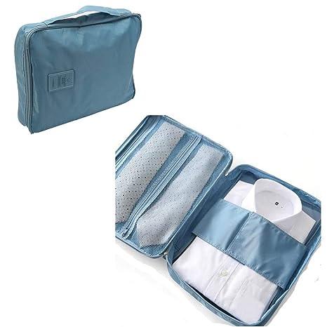 Camisa y Corbata Packing Organizador de Bolsas. Funda de Almacenamiento Impermeable Sin Arrugas. (Turquesa)