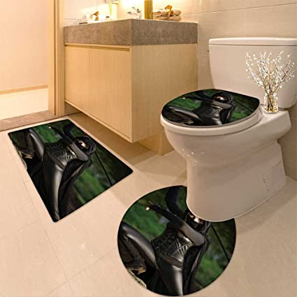 Amazon.com: 3 Piece Toilet lid cover mat set Female ninja in ...