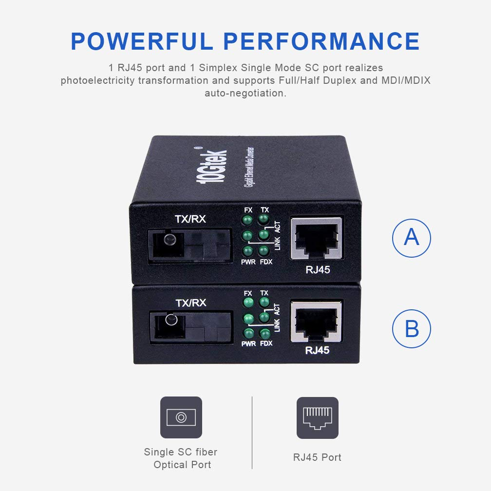 Gigabit Ethernet Media Converter, a Pair of Bi-Directional Single Mode SC Fiber Converter, 1000Base-LX to 10/100/1000Base-Tx, up to 20km by 10Gtek (Image #3)