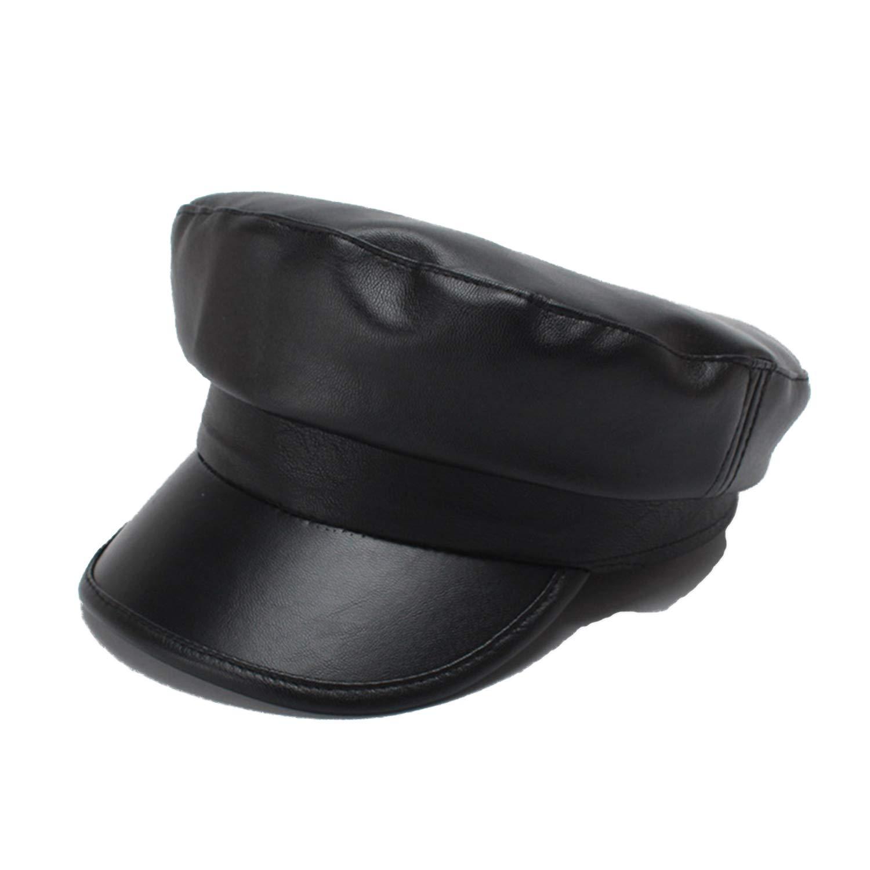 ANDERDM 2018 Military Cap Women Leather Army Cap Black Casual Captains Hat Ladies Solid Autumn Winter Sailor Hats