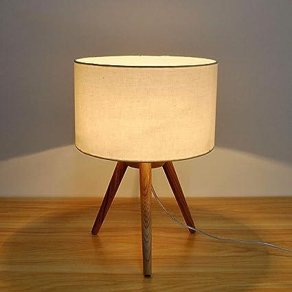 Pointhx Moderno Paño de madera maciza Lámpara de mesa de ...