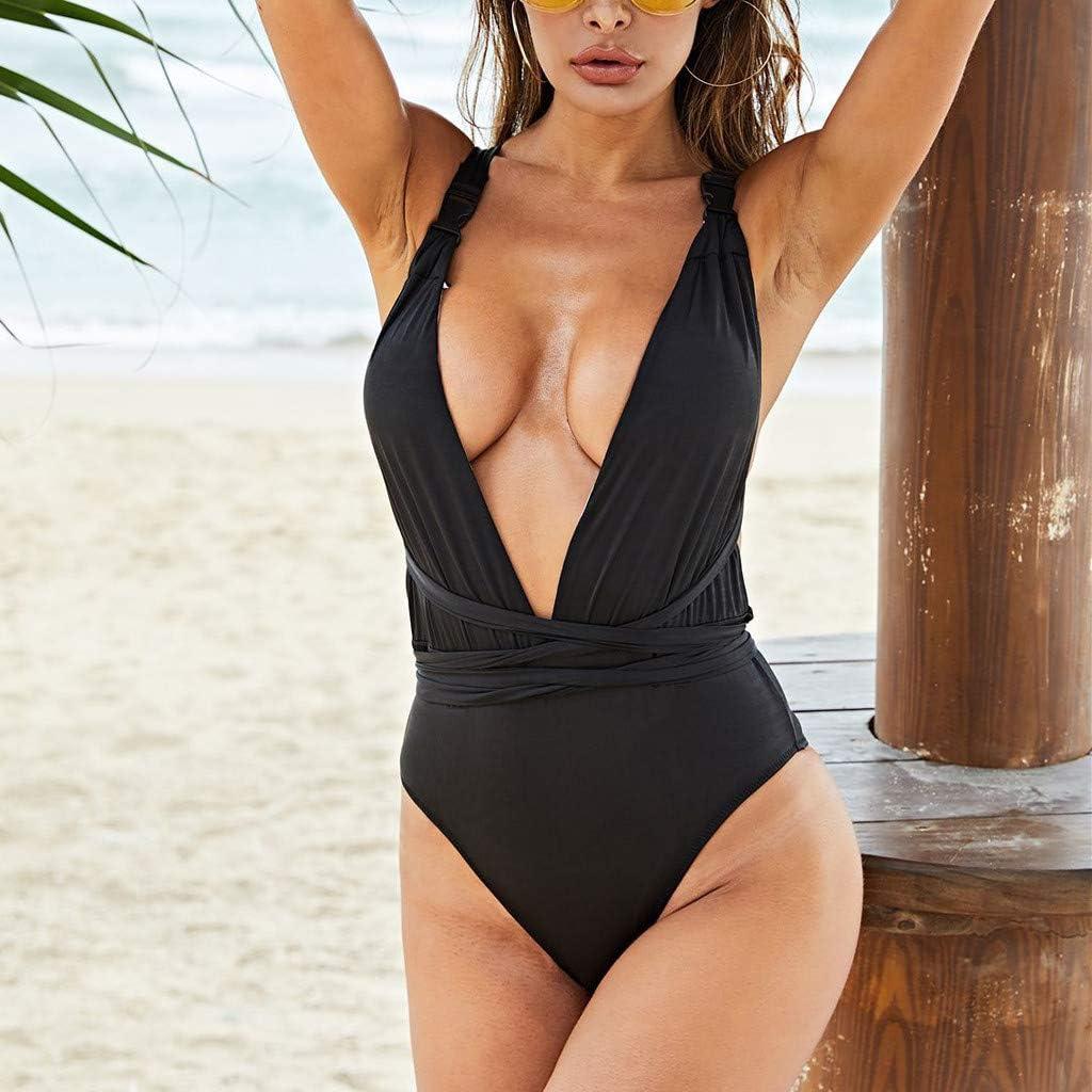FRCOLT One Piece Women Cross Halter Push Up Bikini Beach Bathing Monokini Swimsuit