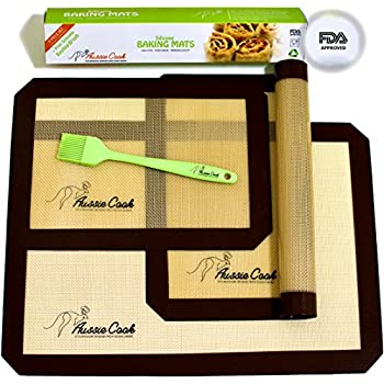 AussieCook Silicone Baking Mat Set of 4 – Professional Grade Pan Liners (Nonstick) - Includes 3 Silicon Baking Mats + 1 Basting Brush