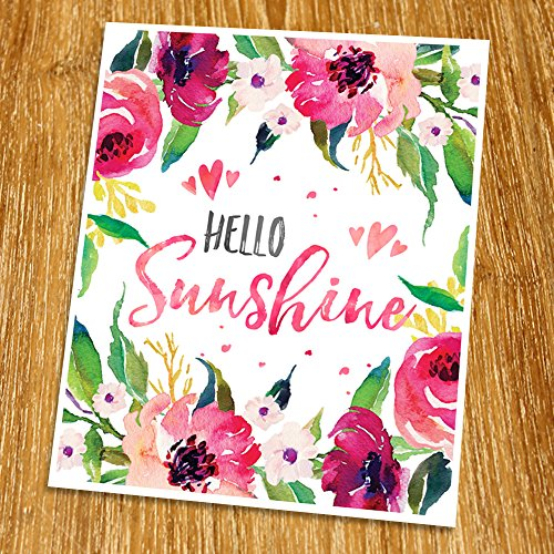 Hello sunshine Print (Unframed), Watercolor Floral, Calligraphy Quote, Inspirational Poster, Living Room Art, Guest Room Decor, Entrance Wall Art, 8x10