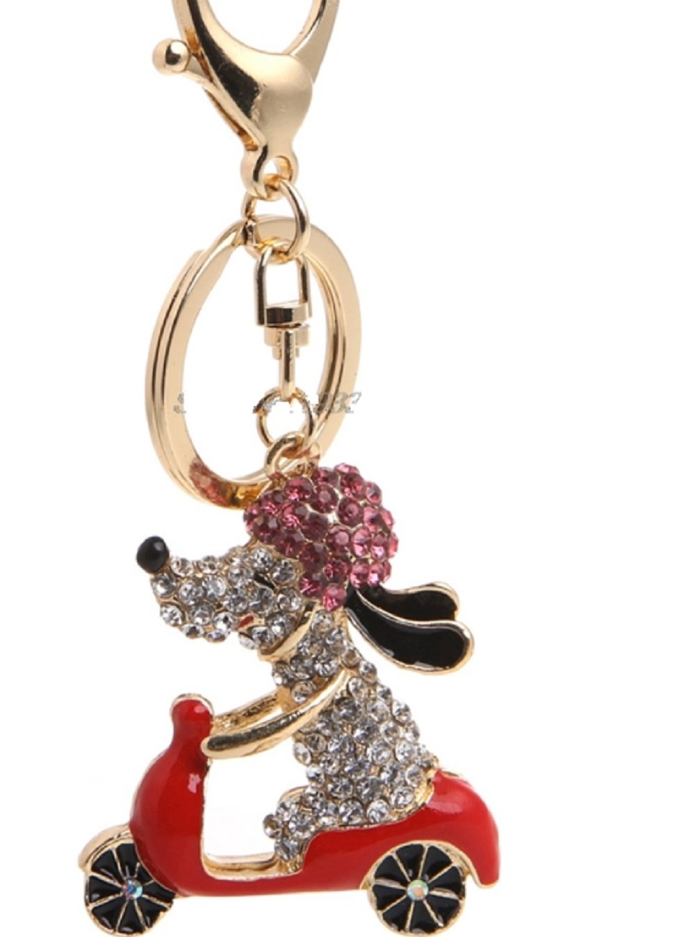 Snoopy DOG Riding Red Scooter Key Chain is Embellished with Crystal Rhinestones.Gold Ring & Lobster Claw.Perfect Gift for the Woman in your Life who loves Motorcycles or Riding on Yours:)