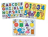 Toys : Melissa & Doug Disney Wooden Peg Puzzles Set: Letters, Numbers, and Shapes and Colors