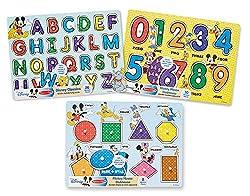 Melissa & Doug Disney Wooden Peg Puzzles Set: Letters,...