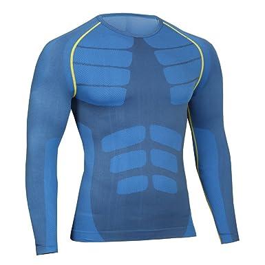 Bwiv Camiseta Hombre Deportiva Compresión Camiseta Interior Hombre Manga  Larga Fitness Gimnasio Aire Libre para Entrenamiento Ciclismo Talla M hasta XL  3 ... 7ab3d17b69b00
