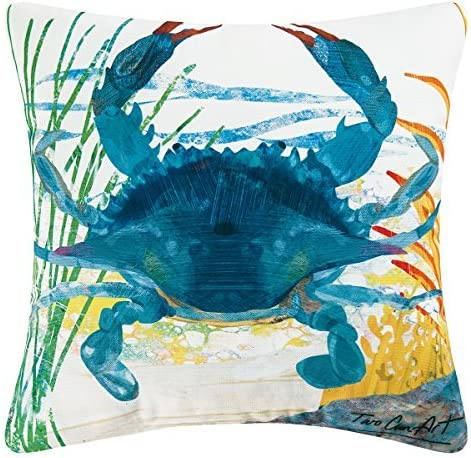 C F Home Indoor Outdoor Throw Pillow, 18 x18 , Blue Crab