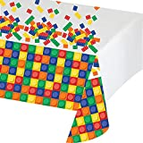 Creative Converting Block Party Birthday Plastic Tablecover, 54 x 102 Inches