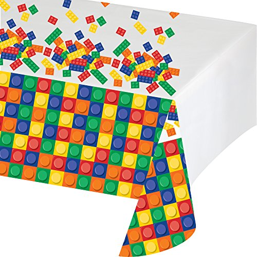 Creative Converting Block Party Birthday Plastic Tablecover, 54 x 102 Inches ()