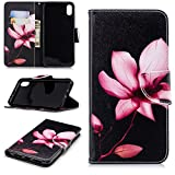 Gostyle iPhone XR Leather Wallet Case,Lotus Pattern Book Style Flip Cover Built-in Card Holder Cash Pocket with Kickstand Magnetic Closure Anti-Scratch Shockproof Cover