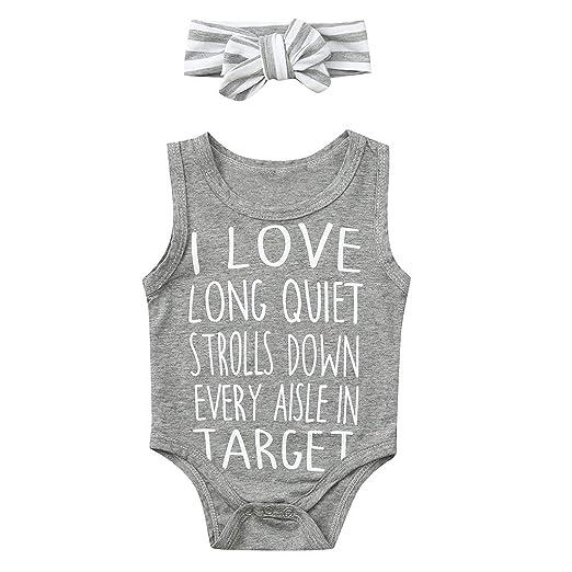 c43aac121 Amazon.com  HANANei Toddler Kids Baby Girls Romper I Love Target Letter  Print Romper Bodysuit + Hair Band Summer Clothes  Clothing