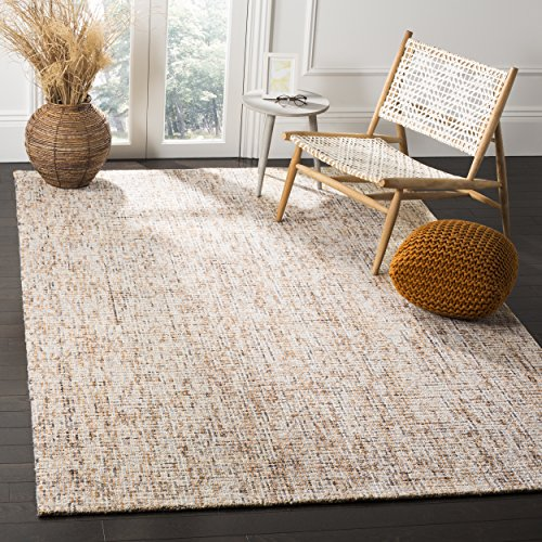 (Safavieh Abstract Collection ABT468D Contemporary Handmade Gold and Blue Premium Wool Area Rug (4' x 6'))