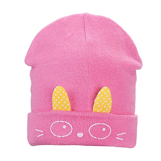 8729e0917878e YuYe Cute Rabbit Ears Toddler Baby Knitted Hat Infant Newborn Soft Warm Beanie  Cap - Dark