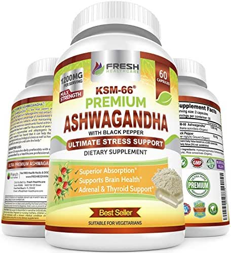 Organic Ashwagandha KSM-66 by Fresh Healthcare, 1200mg Pure and Potent Root Extract Capsules with Natural Black Pepper for High Absorption, Non-GMO Vegan Supplement Pills, Bonus E-Book with Purchase