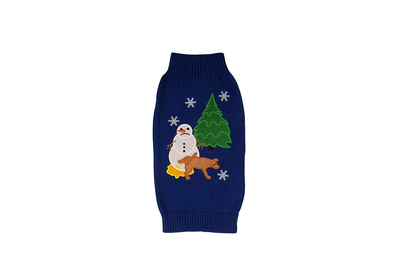 Alex Stevens 100-Percent Cotton Applique Sad Snowman Doggie Apparel Clothing Mock Turtleneck Sweater, Small