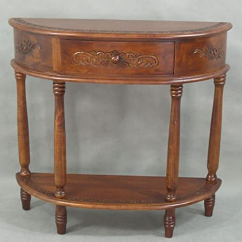 International Caravan Furniture Piece Carved Half Moon Wall Table