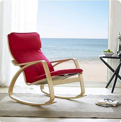 db562952d Toma un Taburete Mecedora balcón nórdico Lazy Mecedora Sillón de Madera  Maciza Silla de salón Mecedora