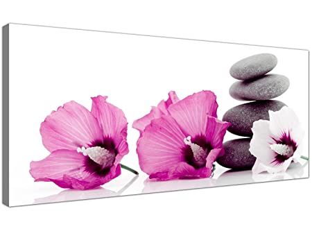 Large canvas prints of pink flowers and grey pebbles modern floral wall art 1069
