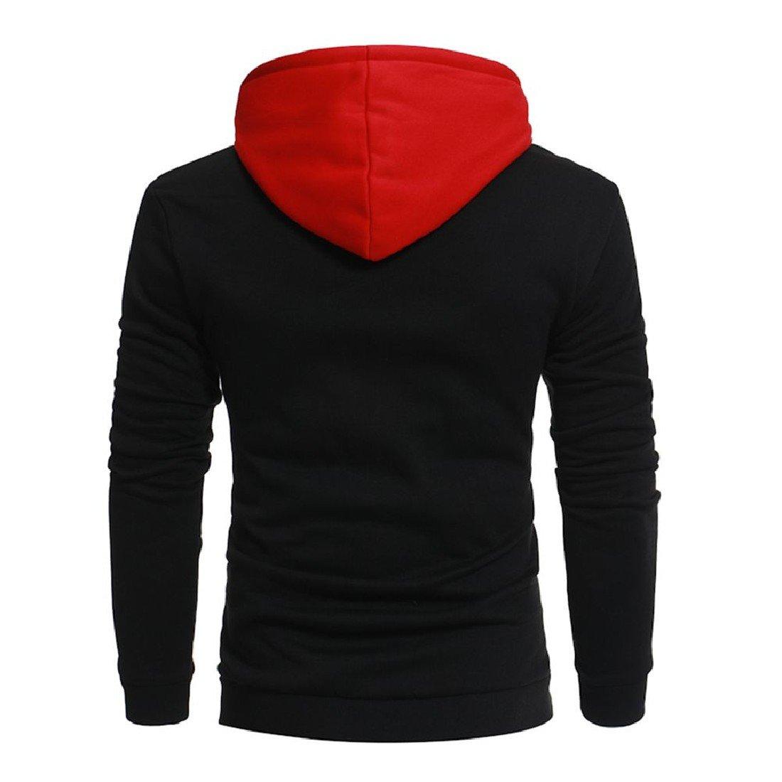 XiaoShop Mens Sports Comfy Long Sleeve Splice Hip Hop Hoodie Sweatshirts