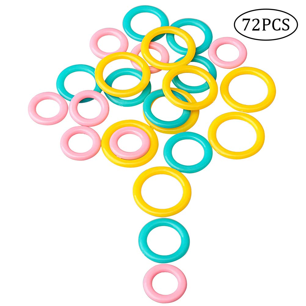 FASHIONROAD Soft Stitch Markers Rings, 72 pcs Plastic Knitting Markers, Multi-Colored Split Crochet Stitch Ring 4336923701