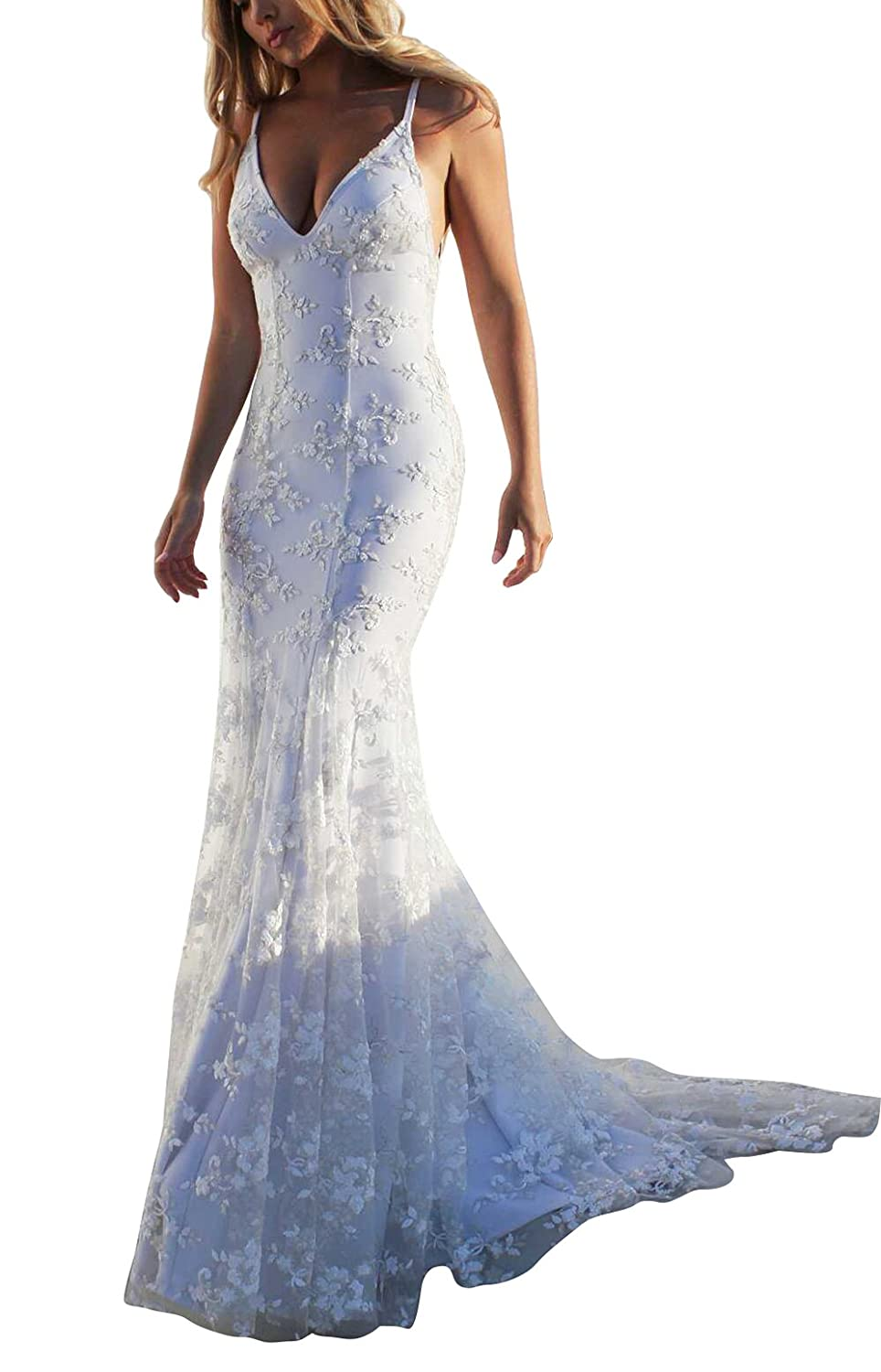 eeee3516a Newdeve White Beach Wedding Dress Lace Applique Strap Backless Slim Fit  Sexy Dresses at Amazon Women's Clothing store:
