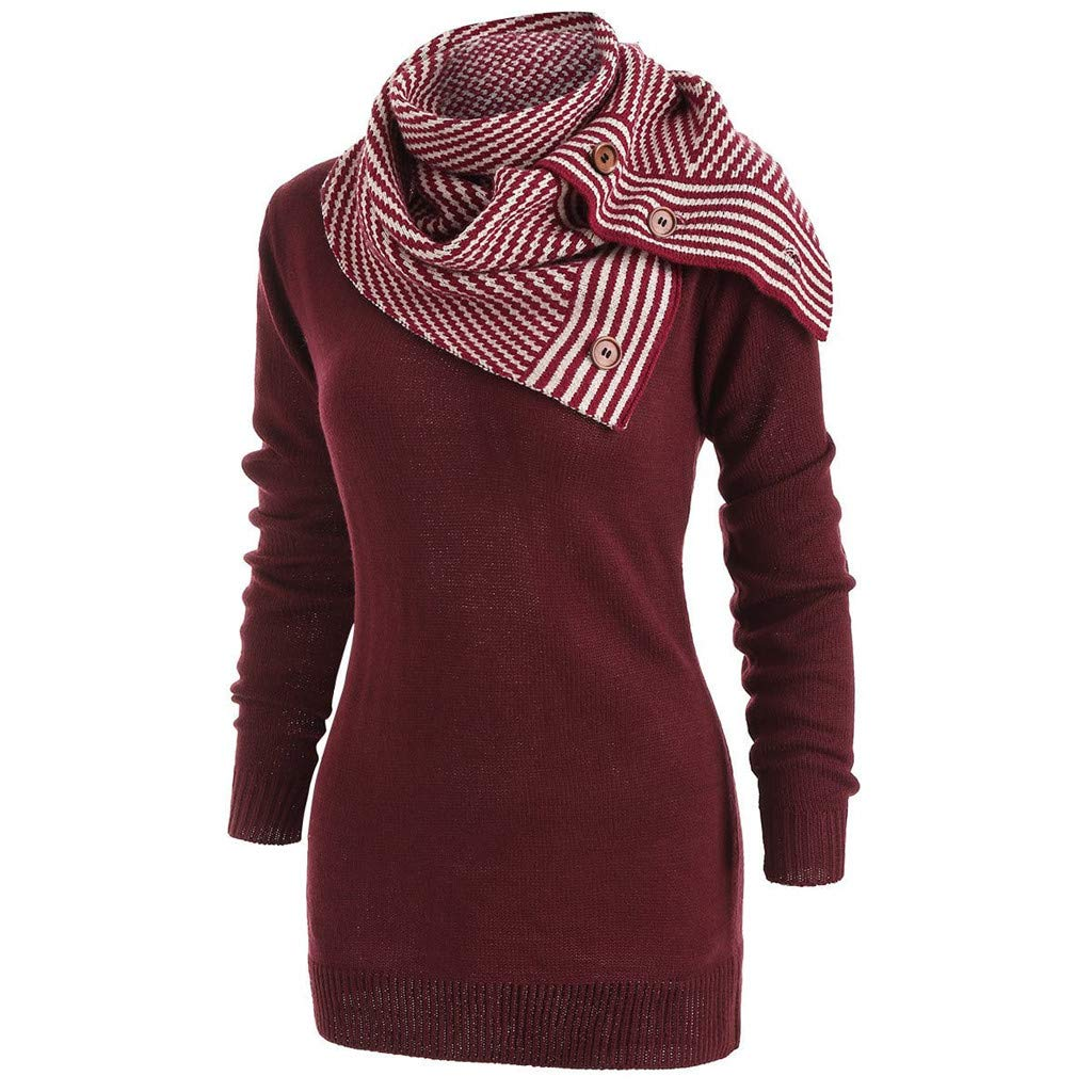 Women's Scarf Cowl Neck Sweater Pullovers Slim Fit Long Tunic Blouse Sweatshirt (M, Wine)