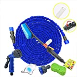 ZLJTYN Domestic High Pressure Telescopic Water Pipe Water Gun Car Wash Pipe Car Wash Brush Water Brush Foam Brush Tool Pipe Set,30 Meters