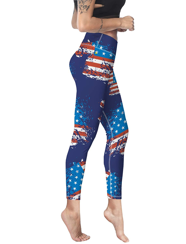 Custom Leggings Women High Waist Soft Yoga Workout Stretch Printed Unicorn American Flag Stretchy Capris Pants
