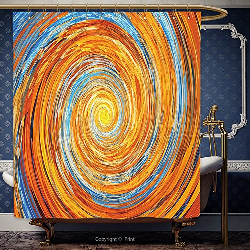 iPrint 108x72 Inch Drop Curtain 3D Fractal Decor Hippie Style Vortex Spiral Rotary Colorful Unusual Contrast Design With Set free 3D Glasses Orange Blue 00087 Polyester Bathroom Accessories Home Decorat
