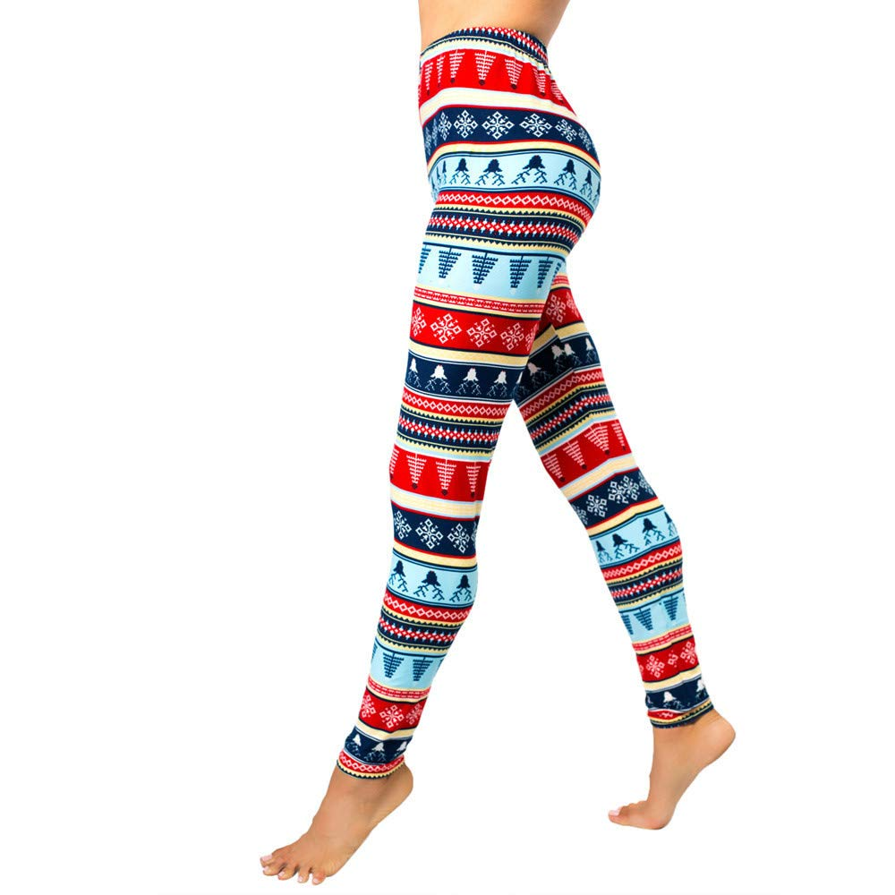 Women Elastic Leggings,Christmas Autumn Winter Print Floral Pants Changeshopping changeshopping leggings change56