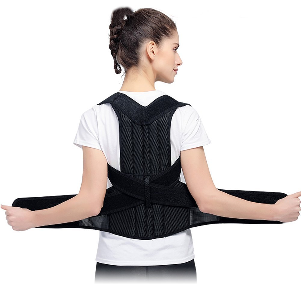 【2018 Newest】Back Brace Posture Corrector for Teenager Women & Men | Improves Posture and Provides Lumbar Support |Best Fully Adjustable Upper Support Braces by Nawati (Medium)