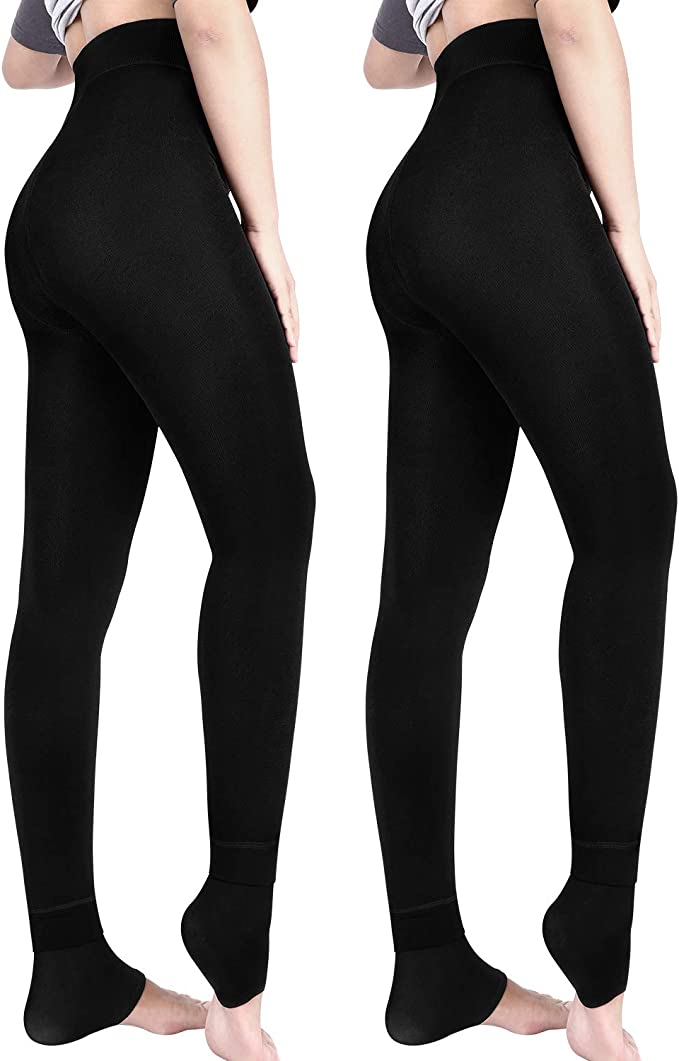 Thermo Leggings für Damen Winter Strumpfhose Blickdicht in Schwarz Dick Warm