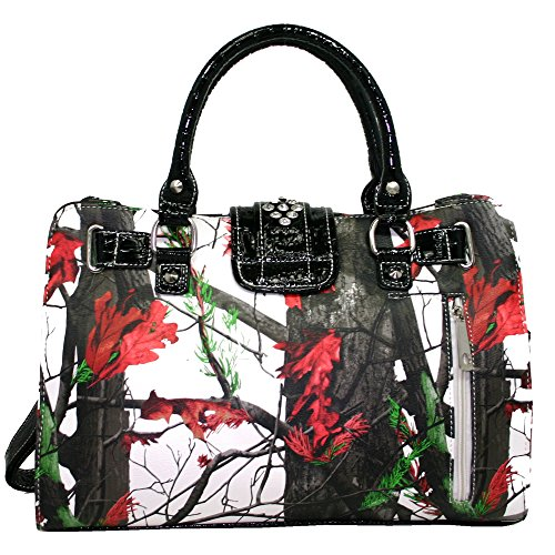 Buckle Satchel Multi Carry Concealed Accent Rhinestone Matching Bag Wallet Red Gun Camo With Western 0WnqEOE