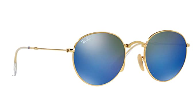bfabb5579f Ray-Ban Folding Round Sunglasses RB 3532 001 68 47mm Blue Mirror +SD Glasses+Kit   Amazon.co.uk  Clothing