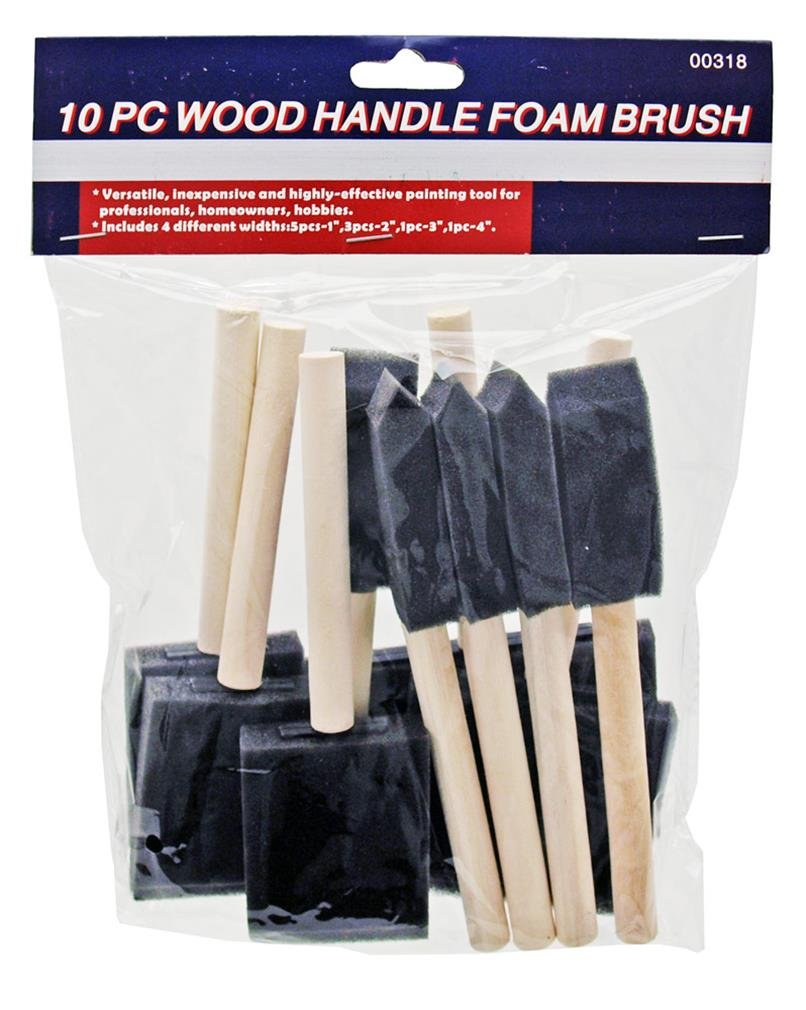 Rock Ridge Tools Variety Pack of Foam Sponge Wood Handle Paint Brush Set (Value Pack 10). Lightweight, Durable and Great for Acrylics, Stains, Varnishes, Crafts and Art Projects for Kids and Adults 61YHV3530-L