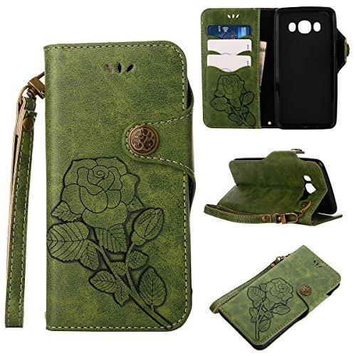MEIRISHUN Leather Wallet Case Cover Carcasa Funda con Ranura de Tarjeta Cierre Magnético y función de soporte para Samsung Galaxy J5 (2016) - naranja Verde