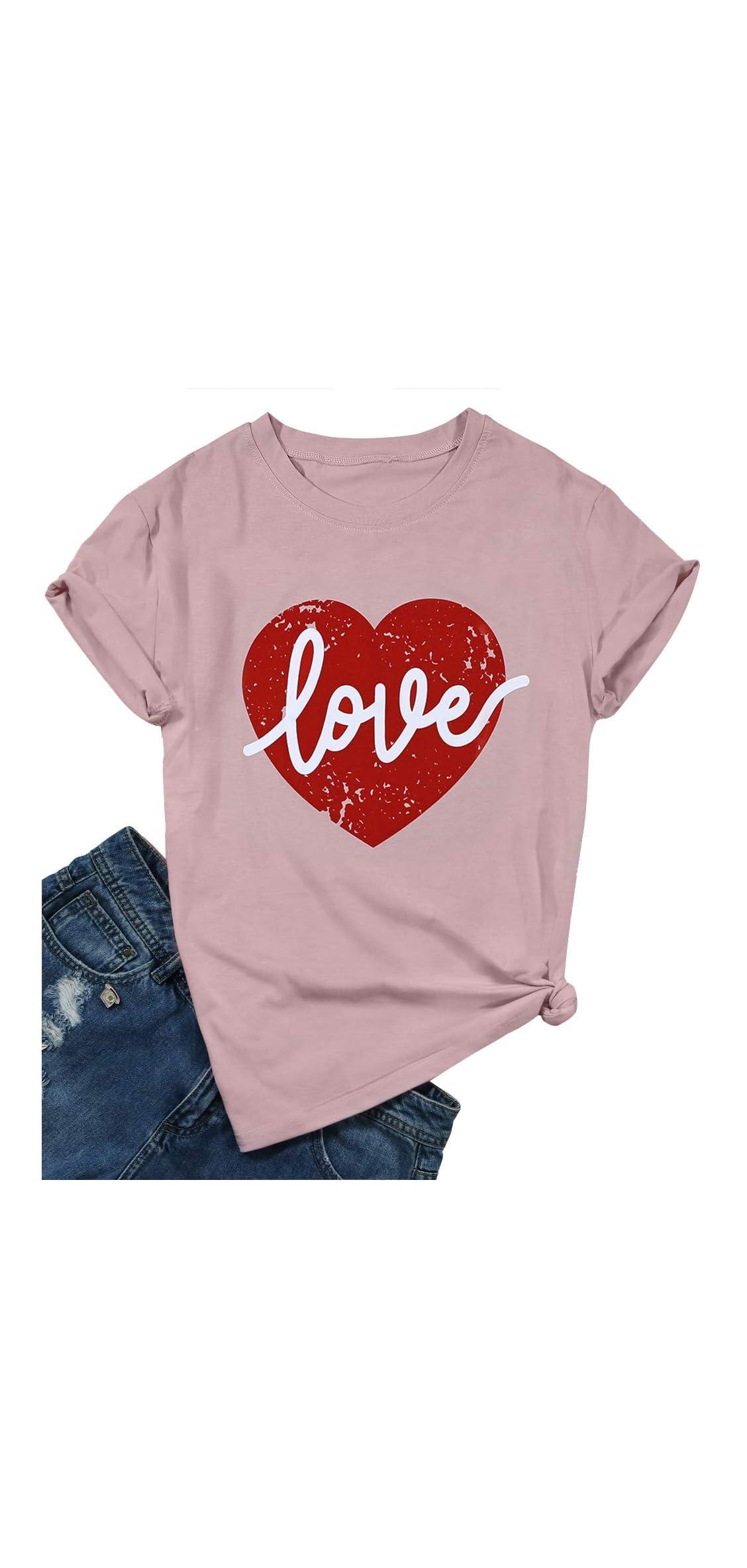 Love Heart Graphic Tee T Shirts For Women Teen Girls Cute T Tee