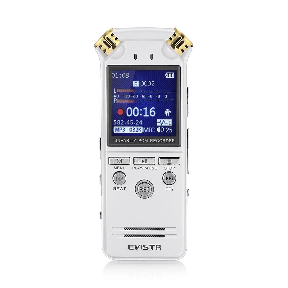 EVISTR Grabadora de Voz Digital de Doble Micrófono Estéreo HD GB de