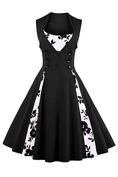 Wellwits Womens Retro 1950s Pleated Swing Vintage Tea Party Dress Floral Black S