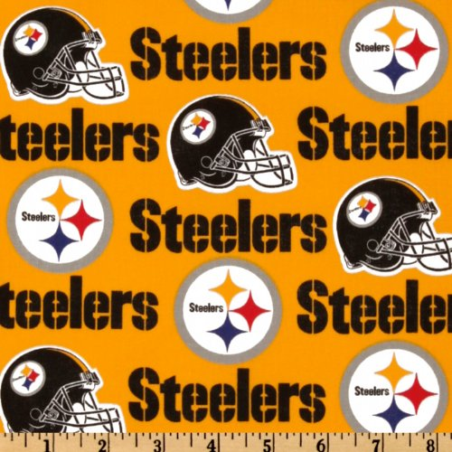 NFL Cotton Broadcloth Pittsburgh Steelers Yellow/Black Fabric By The Yard