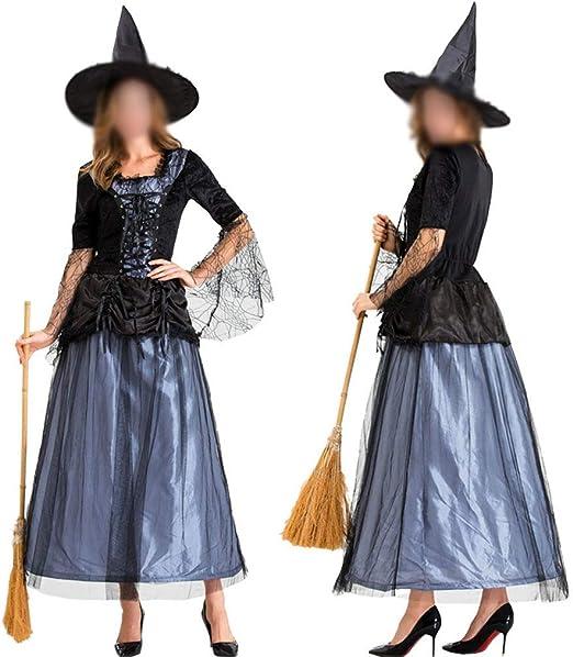 ZHFEL Halloween Bruja Disfraz Vestido, Noche De Carnaval Fiesta ...