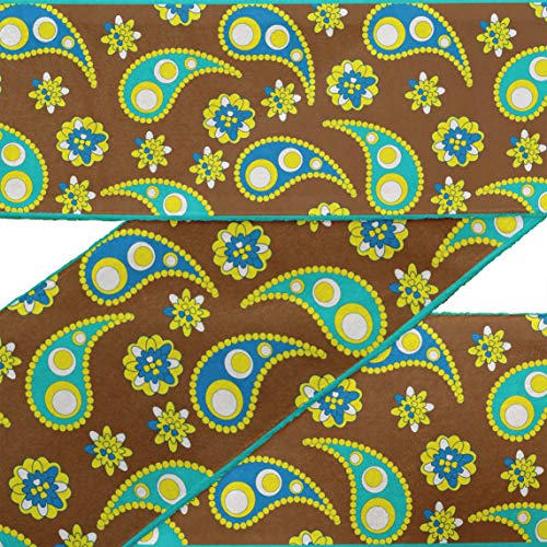 (IBA Indianbeautifulart Brown Floral & Paisley RibbonTrimTape Fabric Laces for Crafts Printed DupionTrimby 9 Yard Sewing Accessories 4 Inches)