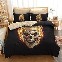 koongso 3d calavera conjuntos de ropa de cama de impresión de microfibra de poliéster decoración de Halloween fuego y Calavera conjuntos de edredón