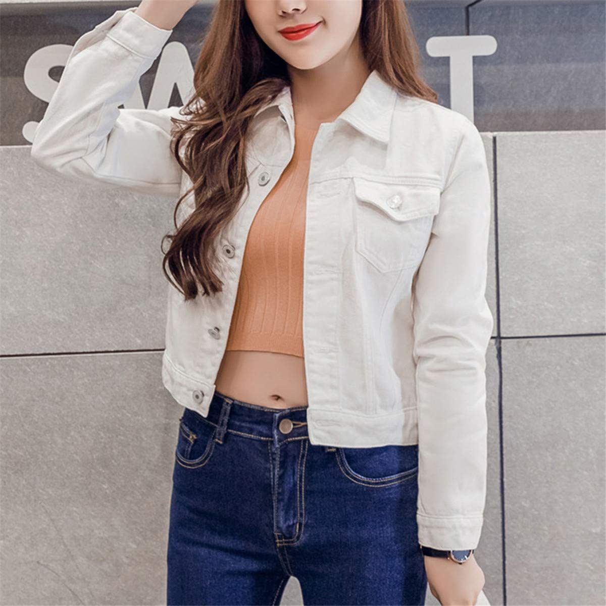 Thenxin Juniors Denim Jacket Cardigan Turn-Down Collar Long Sleeve Slim-fit Solid Color Jean Coat