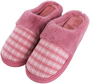 ASO-SLING Women/'s Warm Plush Cotton Slippers Comfort Memory Foam House Slipper Flat Winter Non Slip Home Shoes