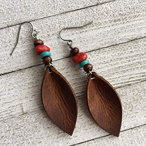 (Leather Earrings for Women Southwestern Style Boho Dangle Leaf in Rustic Brown with Turquoise and Red Coral )